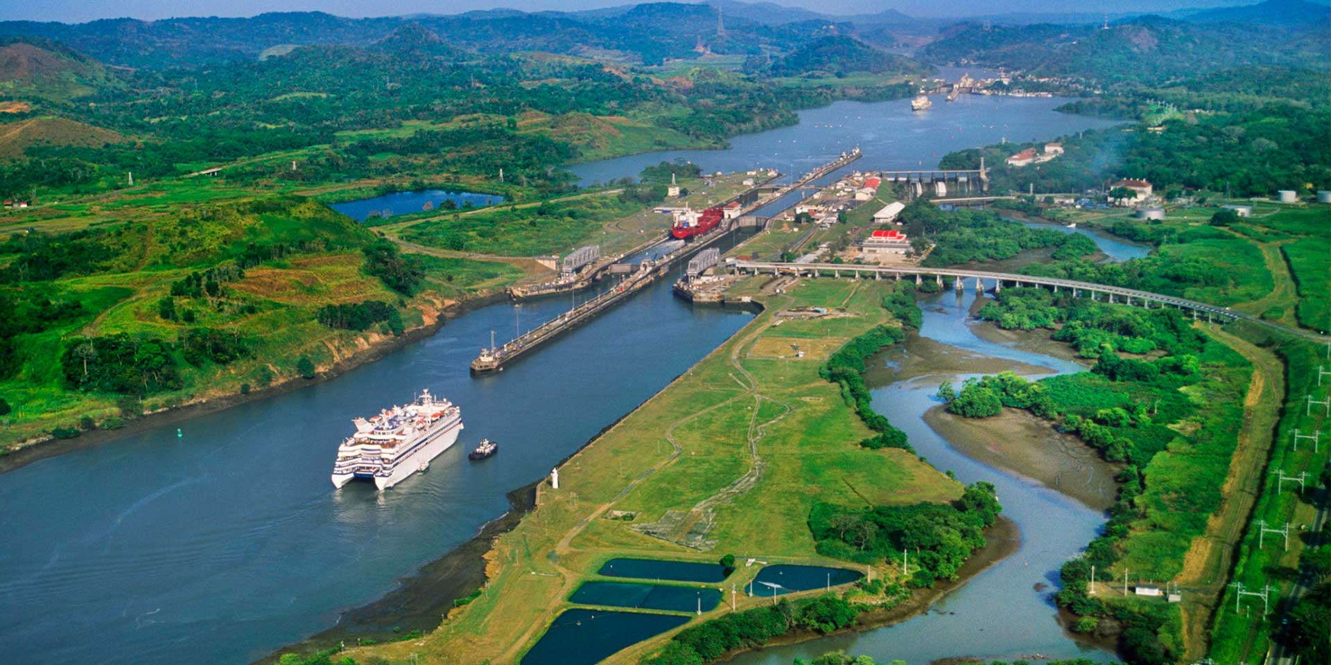 Luxury cruise ship in Panama Canal